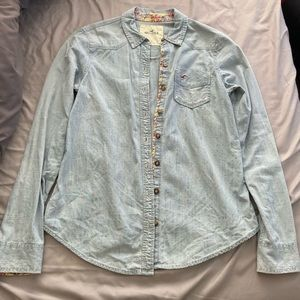 Hollister Chambray Button Down W/ Floral Details